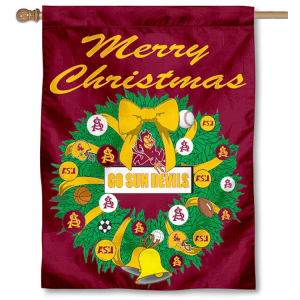 Arizona State University Holiday Flag is a decorative house flag, 30x40 inches, made of 100% polyester, Holiday NCAA team insignias, and has a top pole sleeve to hang vertically. Our Arizona State University Holiday Flag is officially licensed by the selected university and the NCAA.