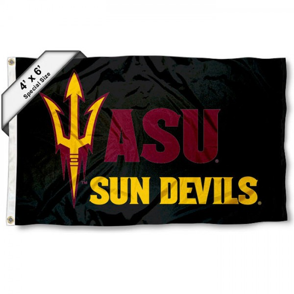 Arizona State University Large 4x6 Flag measures 4x6 feet, is made thick woven polyester, has quadruple stitched flyends, two metal grommets, and offers screen printed NCAA Arizona State University Large athletic logos and insignias. Our Arizona State University Large 4x6 Flag is officially licensed by Arizona State University and the NCAA.