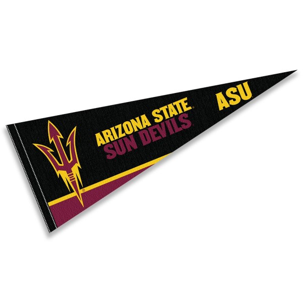 Arizona State University Pennant consists of our full size sports pennant which measures 12x30 inches, is constructed of felt, is single sided imprinted, and offers a pennant sleeve for insertion of a pennant stick, if desired. This ASU Sun Devils Pennant Decorations is Officially Licensed by the selected university and the NCAA.