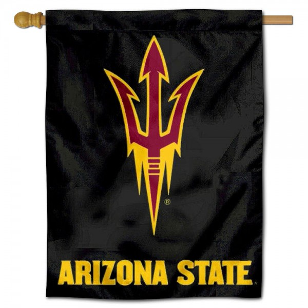 """Arizona State University Pitchfork House Flag is constructed of polyester material, is a vertical house flag, measures 30""""x40"""", offers screen printed athletic insignias, and has a top pole sleeve to hang vertically. Our Arizona State University Pitchfork House Flag is Officially Licensed by Arizona State University Pitchfork and NCAA."""