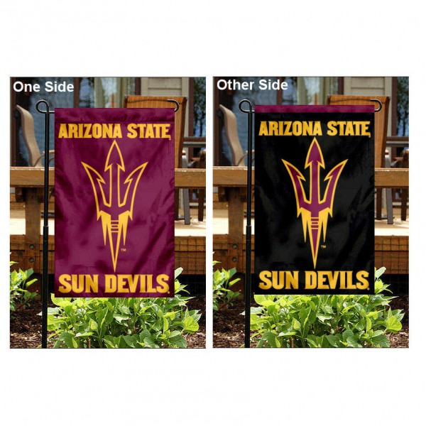Arizona State University Pitchfork Logo Garden Flag is 13x18 inches in size, is made of 2-layer polyester, screen printed Arizona State University Pitchfork Logo athletic logos and lettering. Available with Same Day Express Shipping, Our Arizona State University Pitchfork Logo Garden Flag is officially licensed and approved by Arizona State University Pitchfork Logo and the NCAA.