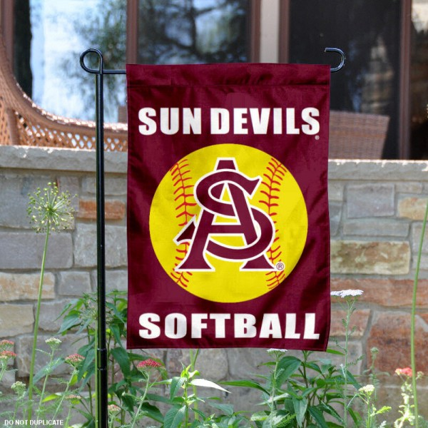 Arizona State University Softball Yard Flag is 13x18 inches in size, is made of 2-layer polyester, screen printed ASU Softball athletic logos and lettering. Available with Same Day Express Shipping, Our Arizona State University Softball Yard Flag is officially licensed and approved by ASU Softball and the NCAA.