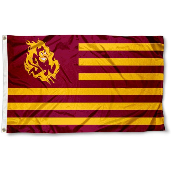 Arizona State University Striped Flag measures 3'x5', is made of polyester, offers double stitched flyends for durability, has two metal grommets, and is viewable from both sides with a reverse image on the opposite side. Our Arizona State University Striped Flag is officially licensed by the selected school university and the NCAA.
