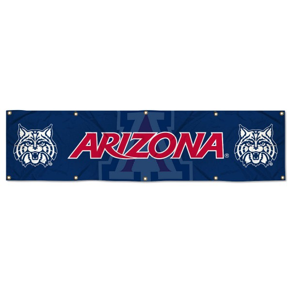 Arizona Wildcats 8 Foot Large Banner measures 2x8 feet and displays Arizona Wildcats logos. Our Arizona Wildcats 8 Foot Large Banner is made of thick polyester and ten grommets around the perimeter for hanging securely. These banners for Arizona Wildcats are officially licensed by the NCAA.