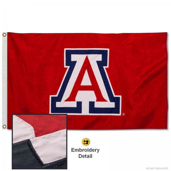 Arizona Wildcats Appliqued Nylon Flag measures 3'x5', is made of 100% nylon, has quadruple flyends, two metal grommets, and has double sided appliqued and embroidered University logos. These Arizona Wildcats 3x5 Flags are officially licensed by the selected university and the NCAA.