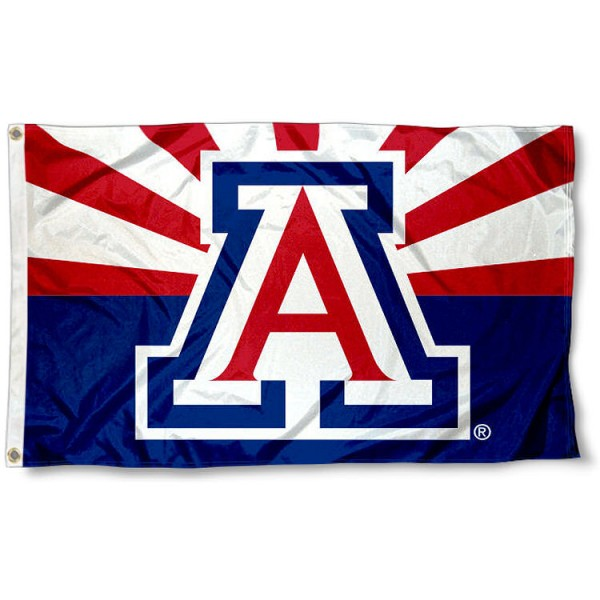 Arizona Wildcats AZ State Flag measures 3x5 feet, is made of 100% polyester, offers quadruple stitched flyends, has two metal grommets, and offers screen printed NCAA team logos and insignias. Our Arizona Wildcats AZ State Flag is officially licensed by the selected university and NCAA.