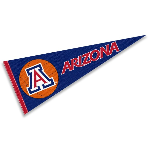 Arizona Wildcats Basketball Pennant consists of our full size sports pennant which measures 12x30 inches, is constructed of felt, is single sided imprinted, and offers a pennant sleeve for insertion of a pennant stick, if desired. This Arizona Wildcats Pennant Decorations is Officially Licensed by the selected university and the NCAA.