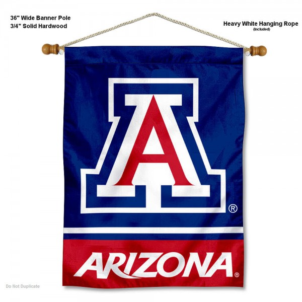 "Arizona Wildcats Blue Wall Banner is constructed of polyester material, measures a large 30""x40"", offers screen printed athletic logos, and includes a sturdy 3/4"" diameter and 36"" wide banner pole and hanging cord. Our Arizona Wildcats Blue Wall Banner is Officially Licensed by the selected college and NCAA."