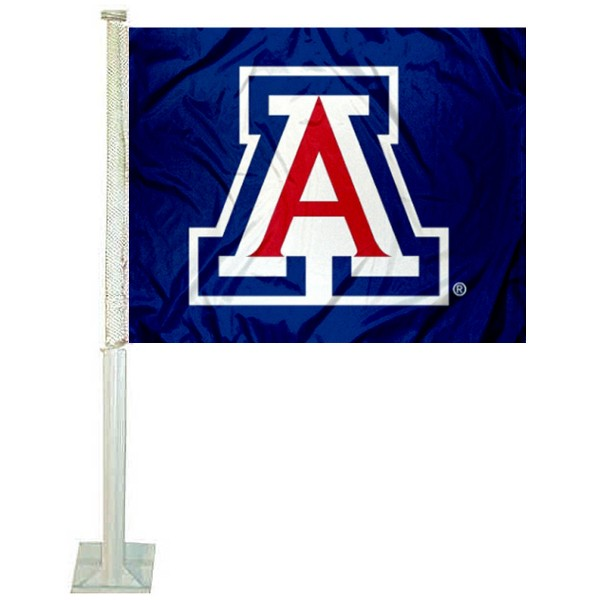Arizona Wildcats Car Window Flag measures 12x15 inches, is constructed of sturdy 2 ply polyester, and has screen printed school logos which are readable and viewable correctly on both sides. Arizona Wildcats Car Window Flag is officially licensed by the NCAA and selected university.