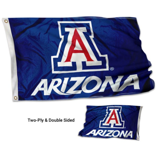 Arizona Wildcats Double Sided Flag measures 3'x5', is made of 2 layer 100% polyester, has quadruple stitched flyends for durability, and is readable correctly on both sides. Our Arizona Wildcats Double Sided Flag is officially licensed by the university, school, and the NCAA.