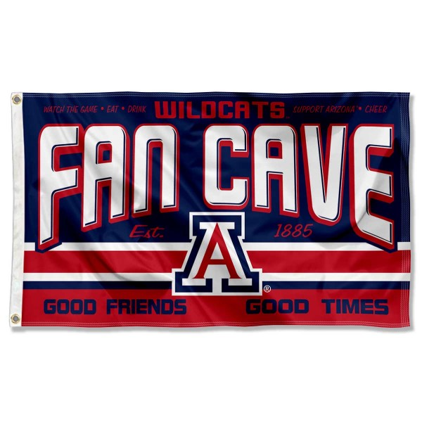 Arizona Wildcats Fan Man Cave Game Room Banner Flag measures 3x5 feet, is made of 100% polyester, offers quadruple stitched flyends, has two metal grommets, and offers screen printed NCAA team logos and insignias. Our Arizona Wildcats Fan Man Cave Game Room Banner Flag is officially licensed by the selected university and NCAA.
