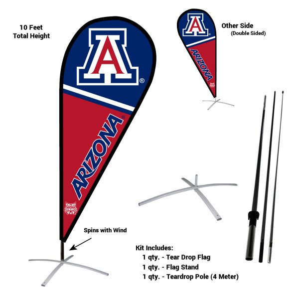 Arizona Wildcats Feather Flag Kit measures a tall 10' when fully assembled. The kit includes a Feather Flag, 3 Piece Fiberglass Pole, and matching Metal Feather Flag Stand. Our Arizona Wildcats Feather Flag Kit easily assembles and is NCAA Officially Licensed by the selected school or university.