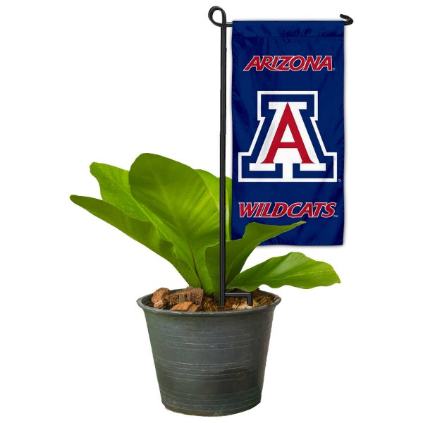 "Arizona Wildcats Flower Pot Topper Flag kit includes our 4""x8"" mini garden banner and 6"" x 14"" mini garden banner stand. The mini flag is made of 1-ply polyester, has screen printed logos and the garden stand is made of steel and powder coated black. This kit is NCAA Officially Licensed by the selected college or university."