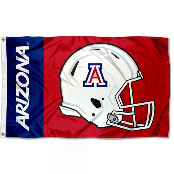Arizona Wildcats Football Helmet Flag measures 3x5 feet, is made of 100% polyester, offers quadruple stitched flyends, has two metal grommets, and offers screen printed NCAA team logos and insignias. Our Arizona Wildcats Football Helmet Flag is officially licensed by the selected university and NCAA.