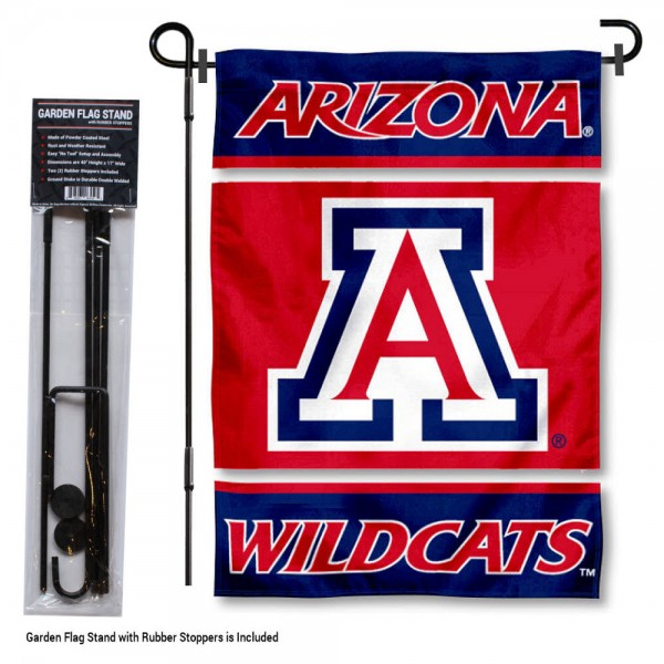 "Arizona Wildcats Garden Flag and Stand kit includes our 13""x18"" garden banner which is made of 2 ply poly with liner and has screen printed licensed logos. Also, a 40""x17"" inch garden flag stand is included so your Arizona Wildcats Garden Flag and Stand is ready to be displayed with no tools needed for setup. Fast Overnight Shipping is offered and the flag is Officially Licensed and Approved by the selected team."