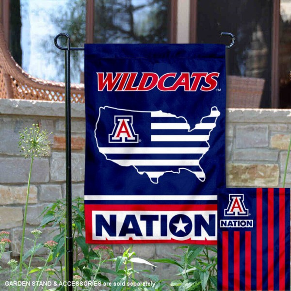 Arizona Wildcats Garden Flag with USA Country Stars and Stripes is 13x18 inches in size, is made of 2-layer polyester, screen printed logos and lettering. Available with Same Day Express Shipping, Our Nation Yard Flag is officially licensed and approved by the NCAA.