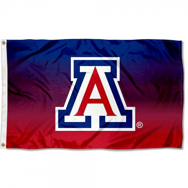 Arizona Wildcats Gradient Ombre Flag measures 3x5 feet, is made of 100% polyester, offers quadruple stitched flyends, has two metal grommets, and offers screen printed NCAA team logos and insignias. Our Arizona Wildcats Gradient Ombre Flag is officially licensed by the selected university and NCAA.