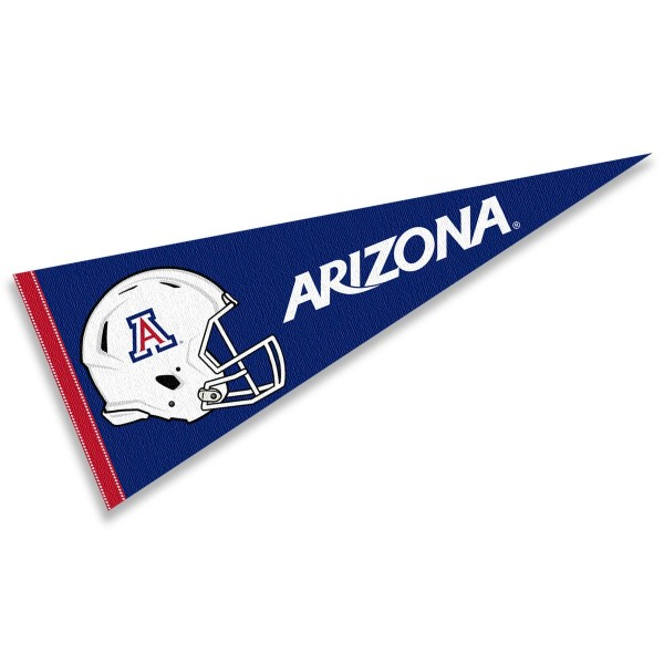 Arizona Wildcats Helmet Pennant consists of our full size sports pennant which measures 12x30 inches, is constructed of felt, is single sided imprinted, and offers a pennant sleeve for insertion of a pennant stick, if desired. This Arizona Wildcats Pennant Decorations is Officially Licensed by the selected university and the NCAA.