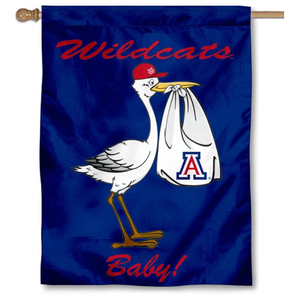Arizona Wildcats New Baby Flag measures 30x40 inches, is made of poly, has a top hanging sleeve, and offers dye sublimated Arizona Wildcats logos. This Decorative Arizona Wildcats New Baby House Flag is officially licensed by the NCAA.