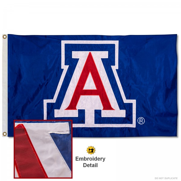 Arizona Wildcats Nylon Embroidered Flag measures 3'x5', is made of 100% nylon, has quadruple flyends, two metal grommets, and has double sided appliqued and embroidered University logos. These Arizona Wildcats 3x5 Flags are officially licensed by the selected university and the NCAA.