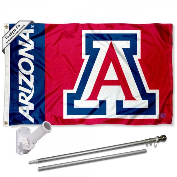 Our Arizona Wildcats Red Flag Pole and Bracket Kit includes the flag as shown and the recommended flagpole and flag bracket. The flag is made of nylon, has quad-stitched flyends, and the NCAA Licensed team logos are double sided screen printed. The flagpole and bracket are made of rust proof aluminum and includes all hardware so this kit is ready to install and fly.