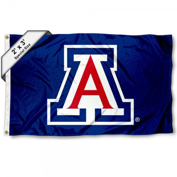 Arizona Wildcats Small 2'x3' Flag measures 2x3 feet, is made of 100% polyester, offers quadruple stitched flyends, has two brass grommets, and offers printed Arizona Wildcats logos, letters, and insignias. Our 2x3 foot flag is Officially Licensed by the selected university.