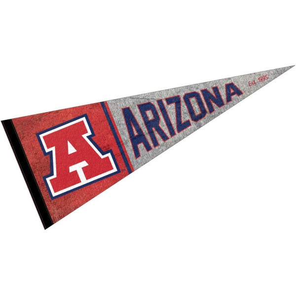 Arizona Wildcats Throwback Retro Vintage Pennant Flag is 12x30 inches, is made of wool and felt, has a pennant stick sleeve, and the Arizona Wildcats logos are single sided screen printed. Our Arizona Wildcats Throwback Retro Vintage Pennant Flag is licensed by the university.