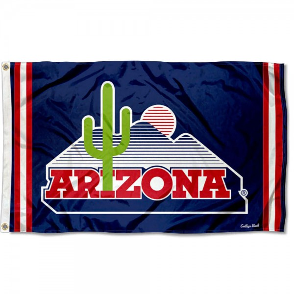 Arizona Wildcats Throwback Vault Logo Flag measures 3x5 feet, is made of 100% polyester, offers quadruple stitched flyends, has two metal grommets, and offers screen printed NCAA team logos and insignias. Our Arizona Wildcats Throwback Vault Logo Flag is officially licensed by the selected university and NCAA.