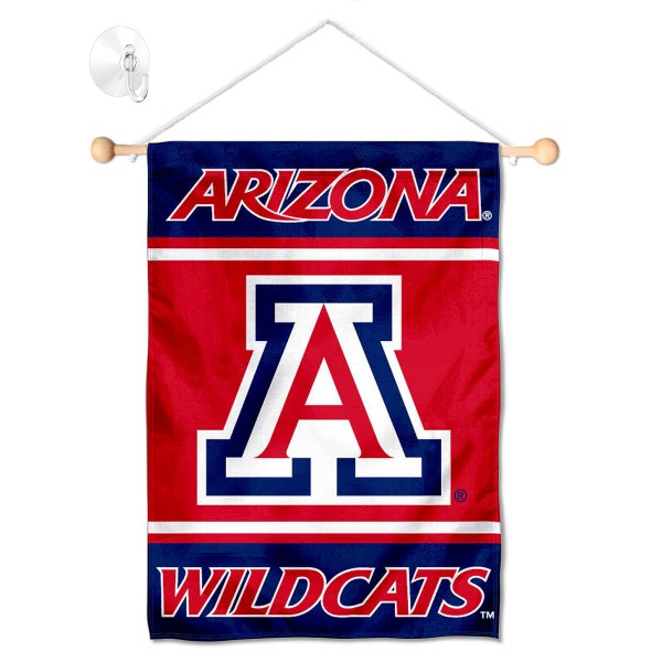 "Arizona Wildcats Window and Wall Banner kit includes our 13""x18"" garden banner which is made of 2 ply poly with liner and has screen printed licensed logos. Also, a 17"" wide banner pole with suction cup is included so your Arizona Wildcats Window and Wall Banner is ready to be displayed with no tools needed for setup. Fast Overnight Shipping is offered and the flag is Officially Licensed and Approved by the selected team."