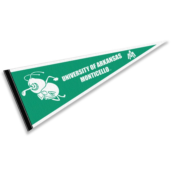 Arkansas Monticello Weevils Pennant consists of our full size sports pennant which measures 12x30 inches, is constructed of felt, is single sided imprinted, and offers a pennant sleeve for insertion of a pennant stick, if desired. This Arkansas Monticello Weevils Pennant Decorations is Officially Licensed by the selected university and the NCAA.