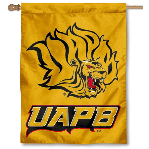 Arkansas Pine Bluff Golden Lions Banner Flag is a vertical house flag which measures 30x40 inches, is made of 2 ply 100% polyester, offers dye sublimated NCAA team insignias, and has a top pole sleeve to hang vertically. Our Arkansas Pine Bluff Golden Lions Banner Flag is officially licensed by the selected university and the NCAA.
