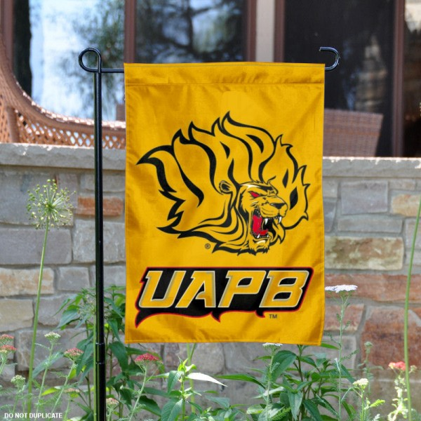 Arkansas Pine Bluff Golden Lions Logo Garden Flag is 13x18 inches in size, is made of 2-layer polyester with liner, screen printed athletic logos and lettering. Available with Same Day Overnight Express Shipping, Our Arkansas Pine Bluff Golden Lions Logo Garden Flag is officially licensed and approved by the university, college and the NCAA.