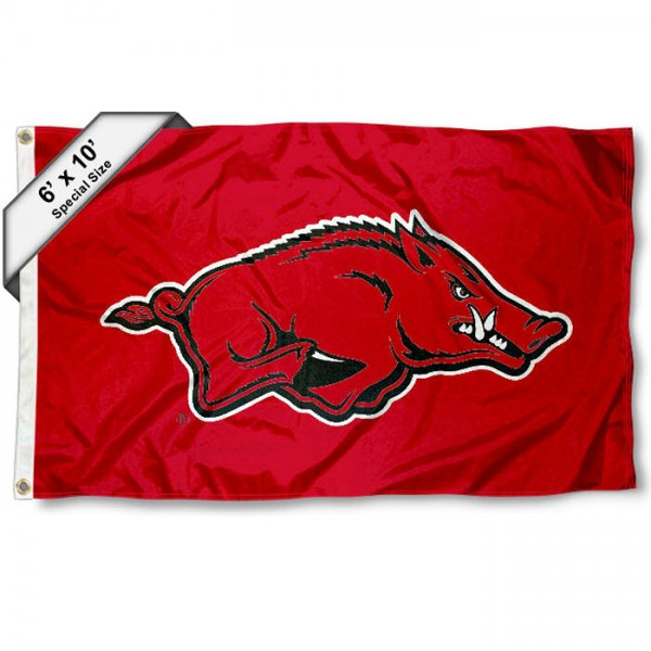 Arkansas Razorbacks 6'x10' Flag measures 6x10 feet, is made of thick poly, has quadruple-stitched fly ends, and Arkansas Razorbacks logos are screen printed into the Arkansas Razorbacks 6'x10' Flag. This Arkansas Razorbacks 6'x10' Flag is officially licensed by and the NCAA.