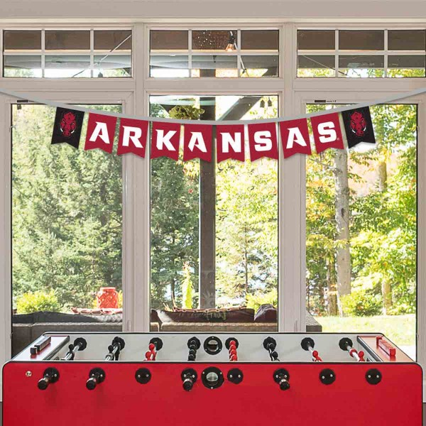 Arkansas Razorbacks Small Banner String Pennant Flags are 8 feet in total length, are made of thick felt polyester, includes 4x6 inch banner streamers, and the logos are screen printed one one side. Each is Offically Licensed.