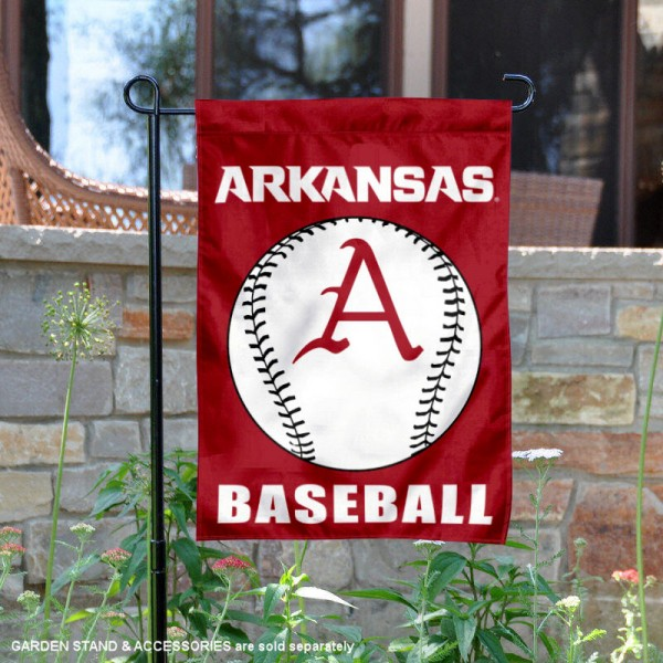 Arkansas Razorbacks Baseball Team Garden Flag is 13x18 inches in size, is made of 2-layer polyester, screen printed University of Arkansas Baseball athletic logos and lettering. Available with Express Shipping, Our Arkansas Razorbacks Baseball Team Garden Flag is officially licensed and approved by University of Arkansas Baseball and the NCAA.