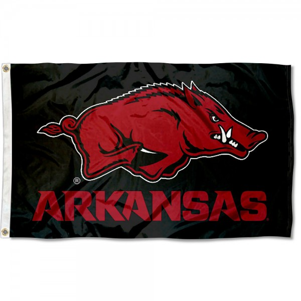 Arkansas Razorbacks Black Flag measures 3x5 feet, is made of 100% polyester, offers quadruple stitched flyends, has two metal grommets, and offers screen printed NCAA team logos and insignias. Our Arkansas Razorbacks Black Flag is officially licensed by the selected university and NCAA.
