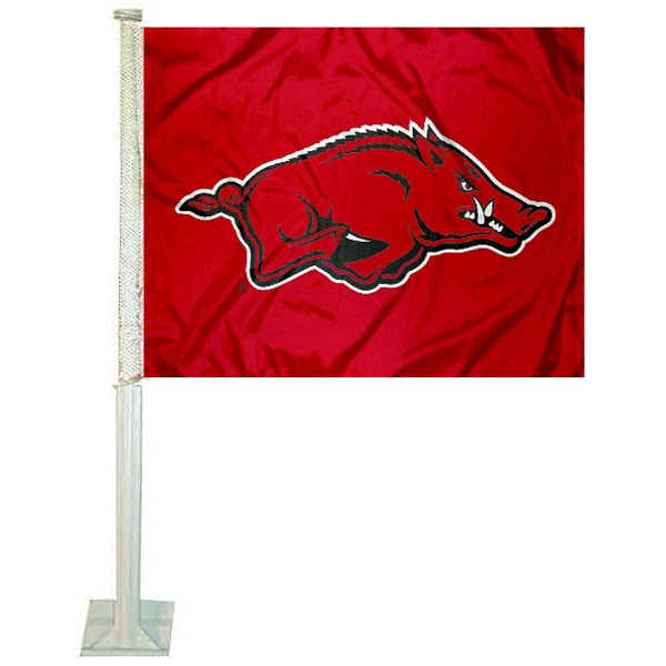 Arkansas Razorbacks Car Window Flag measures 12x15 inches, is constructed of sturdy 2 ply polyester, and has screen printed school logos which are readable and viewable correctly on both sides. Arkansas Razorbacks Car Window Flag is officially licensed by the NCAA and selected university.