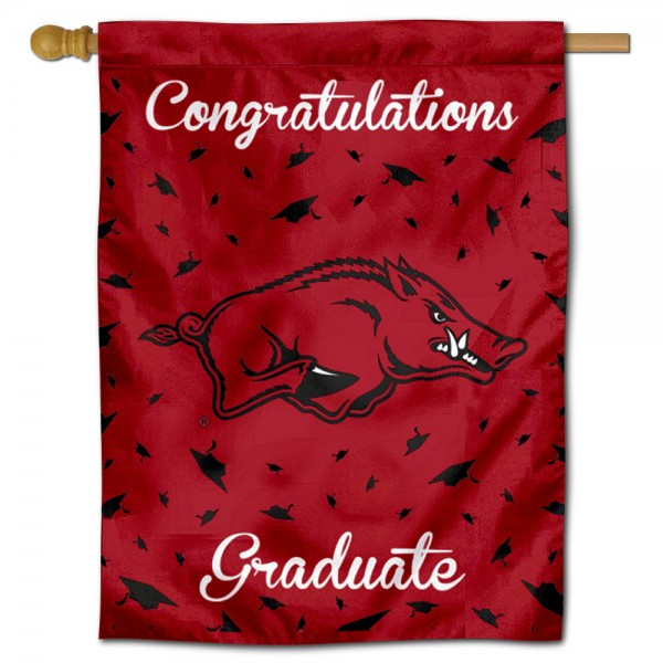 Arkansas Razorbacks Congratulations Graduate Flag measures 30x40 inches, is made of poly, has a top hanging sleeve, and offers dye sublimated Arkansas Razorbacks logos. This Decorative Arkansas Razorbacks Congratulations Graduate House Flag is officially licensed by the NCAA.