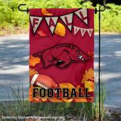Arkansas Razorbacks Fall Football Autumn Leaves Decorative Garden Flag