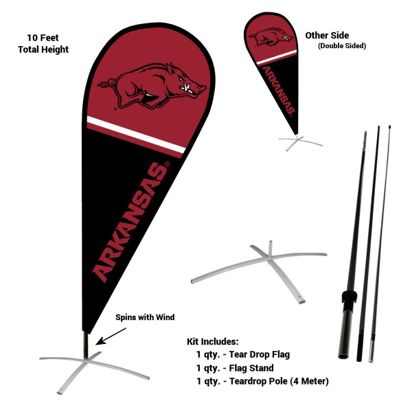 Arkansas Razorbacks Feather Flag Kit measures a tall 10' when fully assembled. The kit includes a Feather Flag, 3 Piece Fiberglass Pole, and matching Metal Feather Flag Stand. Our Arkansas Razorbacks Feather Flag Kit easily assembles and is NCAA Officially Licensed by the selected school or university.
