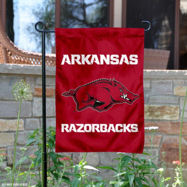 Arkansas Razorbacks Garden Flag is 13x18 inches in size, is made of 2-layer polyester, has screen printed Arkansas Razorbacks athletic logos and lettering. Available with Same Day Express Shipping, our garden flag is officially licensed and approved by the College and NCAA.