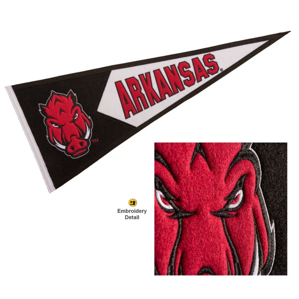Arkansas Razorbacks Genuine Wool Pennant consists of our full size 13x32 inch Winning Streak Sports wool college pennant. The logos, lettering and insignia is quality embroidered and appliqued, feature a alternate logo color header, and has sewn wool perimeter. This Arkansas Razorbacks College Pennant Pennant is Officially Licensed and University Approved with Overnight Next Day Shipping.