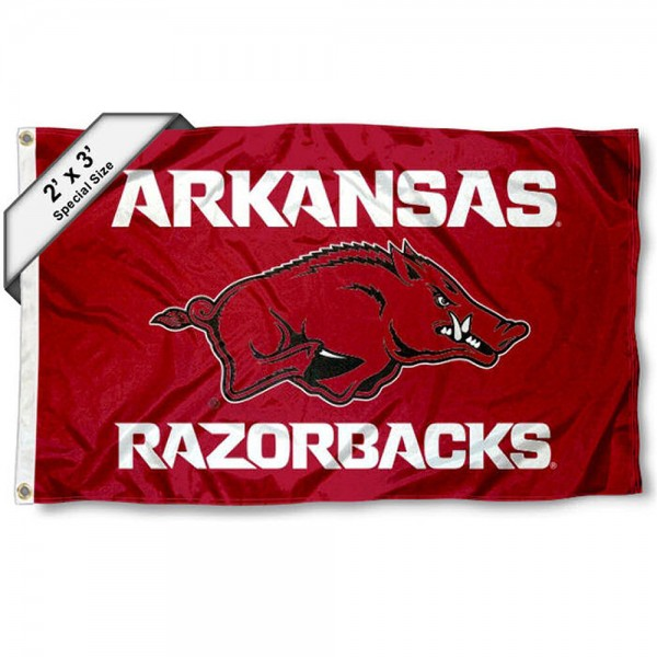 Arkansas Razorbacks Small 2'x3' Flag measures 2x3 feet, is made of 100% polyester, offers quadruple stitched flyends, has two brass grommets, and offers printed Arkansas Razorbacks logos, letters, and insignias. Our 2x3 foot flag is Officially Licensed by the selected university.