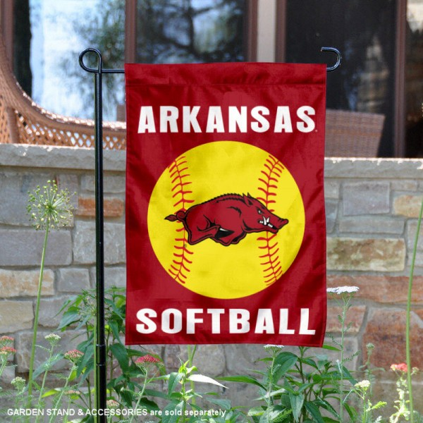 Arkansas Razorbacks Softball Garden Flag and Yard Banner is 13x18 inches in size, is made of 2-layer double sided with liner polyester, screen printed Arkansas Razorbacks athletic logos and lettering. Available with Same Day Express Shipping, Our Arkansas Razorbacks Softball Garden Flag and Yard Banner is officially licensed and approved by Arkansas Razorbacks and the NCAA.