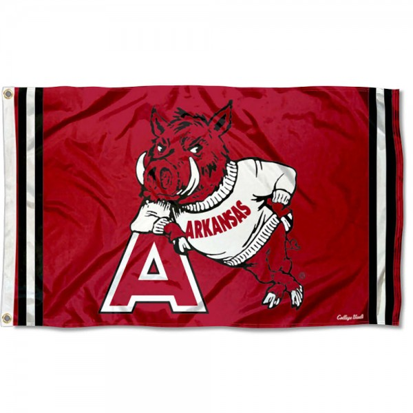 Arkansas Razorbacks Throwback Vault Logo Flag measures 3x5 feet, is made of 100% polyester, offers quadruple stitched flyends, has two metal grommets, and offers screen printed NCAA team logos and insignias. Our Arkansas Razorbacks Throwback Vault Logo Flag is officially licensed by the selected university and NCAA.