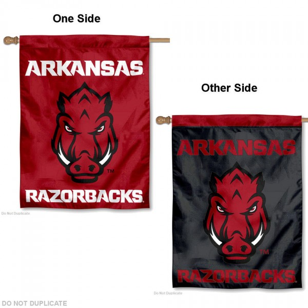 Arkansas Razorbacks Two Logo House Flag is a vertical house flag which measures 30x40 inches, is made of 2 ply 100% polyester, offers screen printed NCAA team insignias, and has a top pole sleeve to hang vertically. Our Arkansas Razorbacks Two Logo House Flag is officially licensed by the selected university and the NCAA.