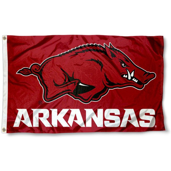 Arkansas Razorbacks Wordmark Flag measures 3x5 feet, is made of 100% polyester, offers quadruple stitched flyends, has two metal grommets, and offers screen printed NCAA team logos and insignias. Our Arkansas Razorbacks Wordmark Flag is officially licensed by the selected university and NCAA.