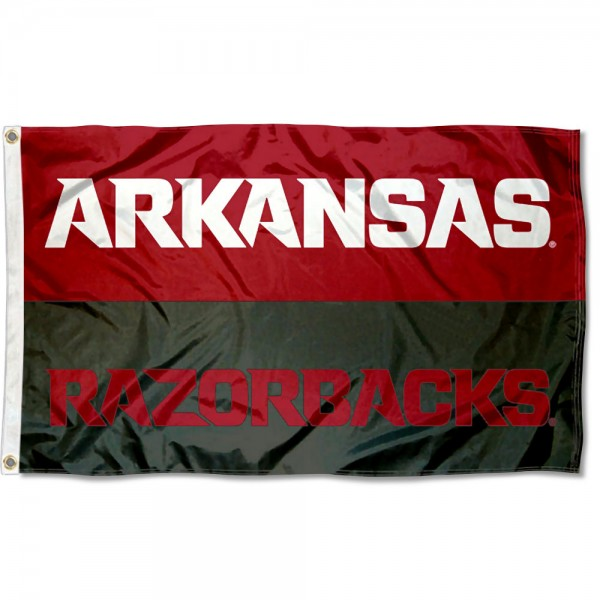 Arkansas Razorbacks Wordmark Flag measures 3'x5', is made of 100% poly, has quadruple stitched sewing, two metal grommets, and has double sided Team University logos. Our Arkansas Razorbacks Wordmark Flag is officially licensed by the selected university and the NCAA.