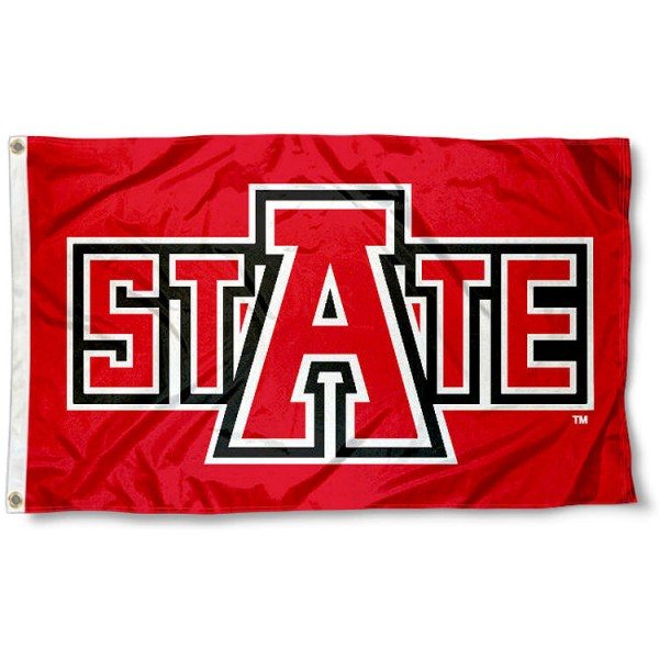 Arkansas State ASU Redwolves Flag measures 3'x5', is made of 100% poly, has quadruple stitched sewing, two metal grommets, and has double sided Arkansas State University logos. Our Arkansas State ASU Redwolves Flag is officially licensed by the selected university and the NCAA.