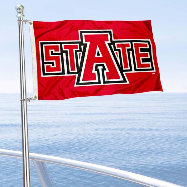 Arkansas State Red Wolves Boat and Mini Flag is 12x18 inches, polyester, offers quadruple stitched flyends for durability, has two metal grommets, and is double sided. Our mini flags for Arkansas State Red Wolves are licensed by the university and NCAA and can be used as a boat flag, motorcycle flag, golf cart flag, or ATV flag.